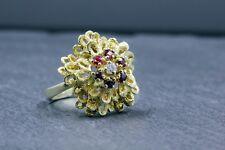Yellow Gold, 14 Kt, Diamond, Ruby, Ring, Flower