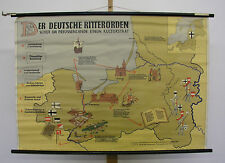 Wandkarte Deutscher Ritterorden 119x82~1959 teutonic military catholic order map
