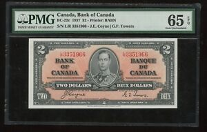 1937 Bank of Canada Transition $2 PMG Gem Uncirculated 65 EPQ Banknote