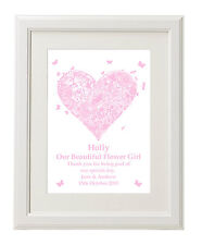 Unique Personalised Flower Girl Print gifts Unusual present ideas - unframed