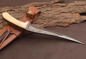 Premium Quality Custom HANDMADE FORGED DAMASCUS Steel Hunting Fix Blade Knife