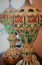 2 VTG Cut to Green Cased Bohemian/Czech Lamps. Large, Brass, Mid Century Modern