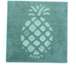 Vintage Handmade Etched Blue Stone Slate of a Pineapple on padded Square Tablet