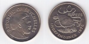 SEYCHELLES 10 RUPEES UNC COIN 1976 YEAR KM#28 TURTLE INDEPENDENCE