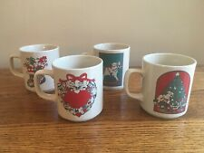 1982 Lucy and Me Set Of 4 Christmas Mugs Cups; Lucy Rigg for Enesco; Free Ship