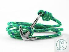 Stainless Steel Silver Anchor Bracelet Rope Paracord Green Wrap Around Unisex