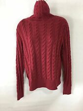LAURA ASHLEY Merino Wool Sweater Womens Solid Red TurtleNeck Long Sleeves M