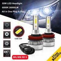 2 Pieces Mini H8 H9 H11 55W 26000LM Car LED Headlight Bulb Kit Xenon White 6000K