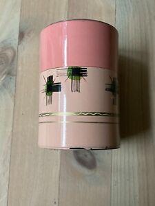 Sweet Vintage Japanese Painted Metal Tea Cannister Caddy