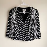 Joseph Ribkoff Black White Clear Sequin Zip Up Chevron Jacket Blazer Size 8