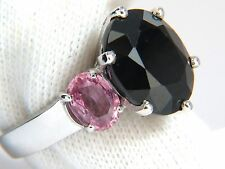 13.00ct. natural black & pink sapphire diamonds ring 14kt. white gold+