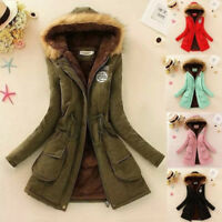 Womens Winter Jacket Warm Parka Casual Outwear Military Hooded Coat Fur Coats
