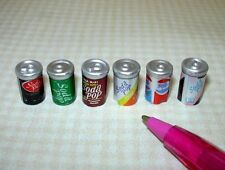 Miniature Cans of Soda Pop, Variety, Set of 6: DOLLHOUSE Miniatures 1/12 Scale