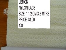 NYLON LACE 1 1/2 CM X 5 MTRS IN LEMON