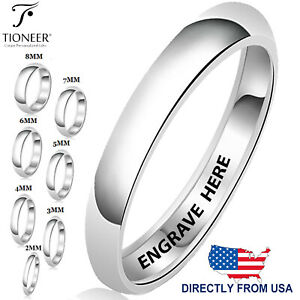 Sterling Silver 925 Wedding Band Promise Ring Plain Comfort FREE ENGRAVE 2mm-8mm