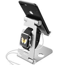 2 en 1 Stand Téléphone et Apple Watch, Support Pliable, Dock de Bureau, Argent