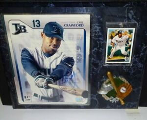 Carl Crawford - signed autographed picture & baseball card custom made plaque