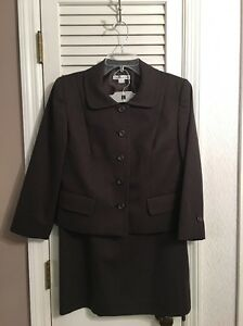 PENDLETON Brown 3/4 Sleeve Jacket Midi Skirt 2-pc Suit SIZE 8 Virgin Wool