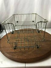 Vintage Mcm Metal Wire 2 Tier Shelf Desktop Office Paper Basket Organizer