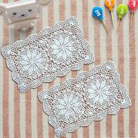 4Pcs Cotton Rectangle Crochet Lace Doilies Mats Dining Table Placemats 27x43cm