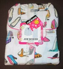 JOE BOXER LARGE  FLANNEL PAJAMAS PJS NWT WOMENS WHITE WITH SHOES +