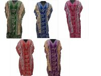 Elephant Print Kaftan Summer Beach Dress Maxi Women Night Gown - Free Shipping