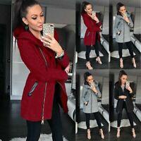 Ladies Winter Collar Hooded Colorblock Zipper Long Sleeve Coat Jacket Outwear US