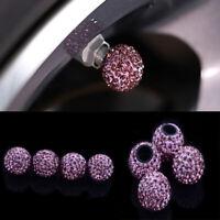 4Pcs Purple Car Rhinestone Tire Valve Caps Diamond Shining Air Caps Accessories