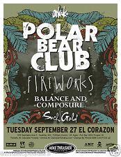 Polar Bear Club / Fireworks 2011 Seattle Concert Tour Poster -Punk, Alternative