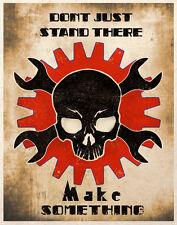 Steampunk Art Make Something Skull Motivational Wall Decor