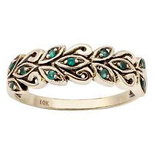 10k Yellow Gold Genuine Emerald Scroll Anniversary Ring