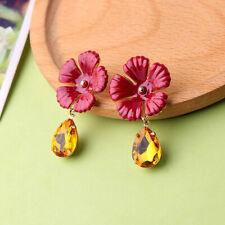 Big Red Enamel Flower Women Elegant Fashion Earrings Stud Crystal Rhinestone