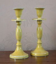 Pair Yellow Metal Candle Stick Holders Modern Chic 20cm Shabby New