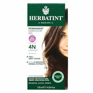 Herbatint Permanent Herbal Hair Color Gel, 4N Chestnut, Clearance for NO BOX