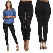 WOMENS LADIES GIRLS HIGH WAISTED EXTREME RIPPED BLACK SKINNY JEANS SIZE 6 TO 14