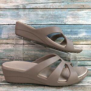 Crocs Womens Gray Rubber Slide Sandals Dual Comfort Wedge Heel Casual Slip On 9M