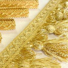 Diamantlook Quastenborte mit Diamant 90 mm breit Gold  Posamentenborte m. Quaste