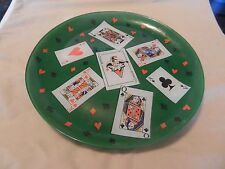 Large Green Glass Poker Night Serving Tray, Aces, Kings, Queens, Jacks