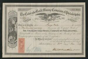The Colorado Gold Mining Company of Philadelphia stock certificate mining scene
