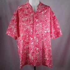 Aloha Hawaiian Shirt Royal Creations Mens Size XL Floral Batik Matched Pocket