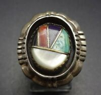 Vintage NAVAJO Sterling Silver & TURQUOISE CORAL JET Channel Inlay RING, size 9