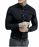 Men's Grandad Long Sleeve Shirts Smart Casual Slim Fit Shirt Mandarin PS30