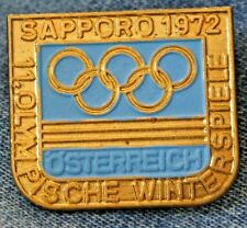 Vintage 1972 Austria dated Noc Pin Badge Sapporo Olympics blue & gold variation