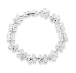 18K Real White Gold Filled Flower Tennis Bracelet Made With Swarovski Elements