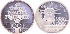 M9975 Rare Coffret 100 francs Eiffel Bartholdi Liberty 1986 Argent Silver BE->FO