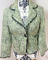 River Island Size 12 Blazer Suit Jacket Cotton Boucle Tweed Frayed Design Green