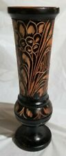 "10"" Haitian Hand Carved Wood Vase Two-Toned Flower Leaf Designs"