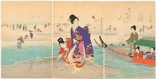 Genuine original Japanese woodblock print Chikanobu triptych #2 Clam Digging