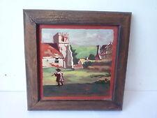Original Landscape Oil Painting on Ceramic Tile - Framed & Signed