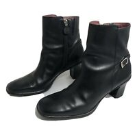 COLE HAAN Black Leather Ankle Boots Size 8.5 B D15866 Booties Heels Mid-Calf EUC